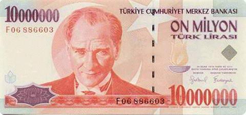 Turkish Lira lama, sepuluh juta paling untuk 3 kaleng Coca Cola