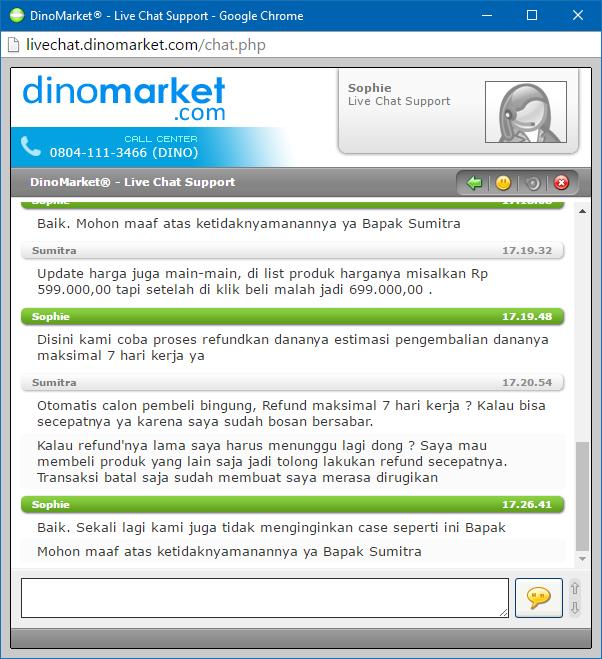 Live Chat dengan CS Dinomarket.com