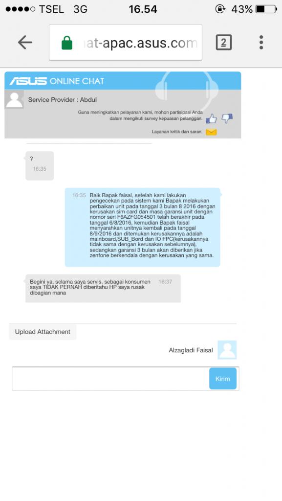 Screenshot online chat dengan pihak ASUS