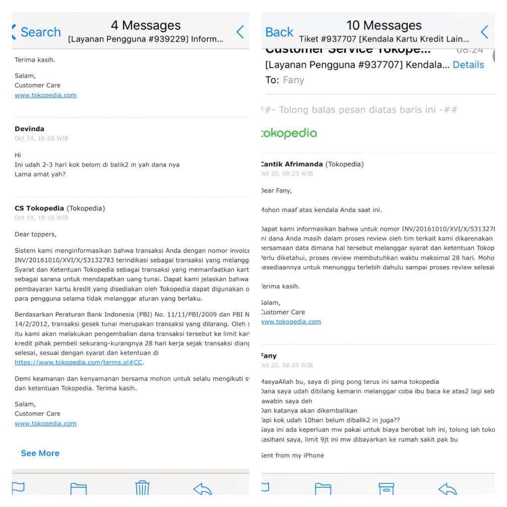 Screenshot email dari Tokopedia bahwa dana akan dikembalikan ke saya tanggal 14 Oktober 2016. Dan jawaban yang berbeda lagi ketika saya tanyakan tanggal 20 Oktober 2016.