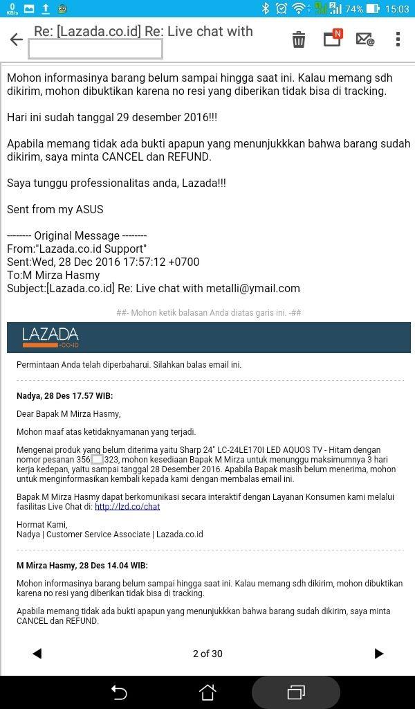 LiveChat dengan CS Lazada