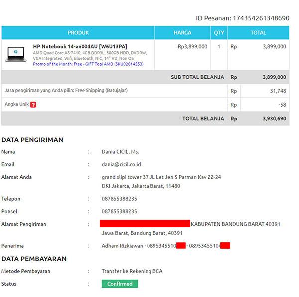 menanyakan status pemesanan di bhinneka com melalui cicil co id rh mediakonsumen com