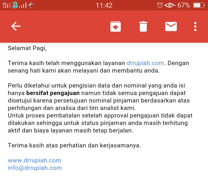 Email dari Doctor Rupiah