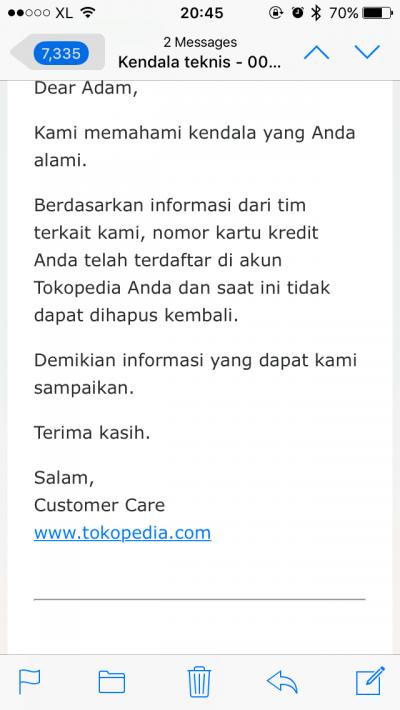 Data Kartu Kredit Tidak Bisa Dihapus Di Tokopedia Media Konsumen