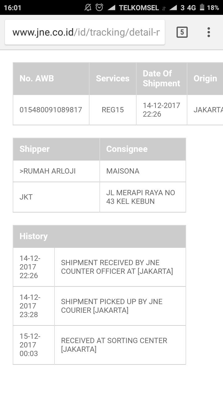Detil tracking JNE