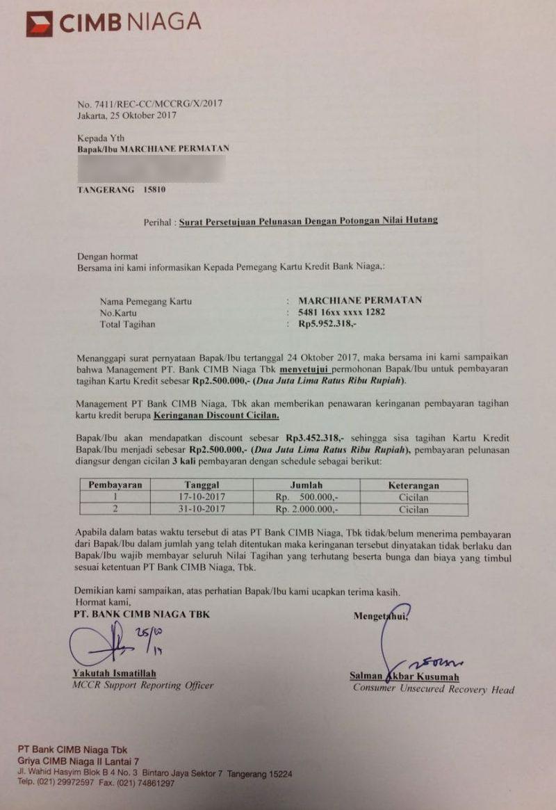 Surat persetujuan pelunasan dengan potongan