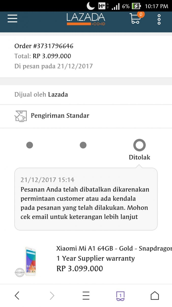 Transaksi dibatalkan sepihak oleh Lazada