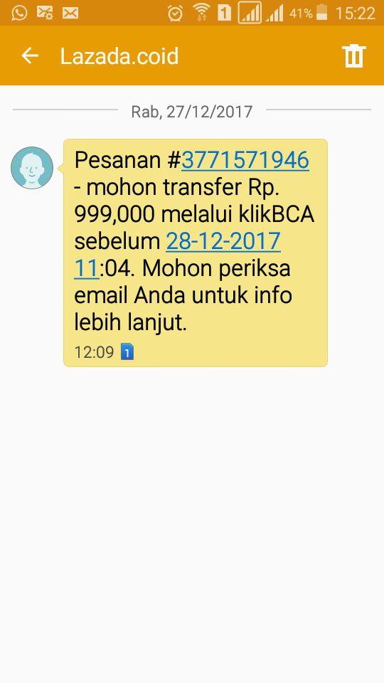 SMS konfirmasi dari Lazada
