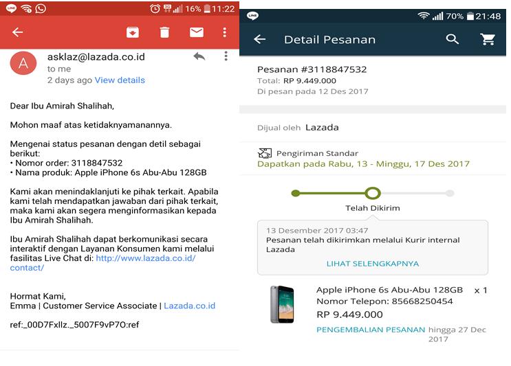 Detail pesanan dan email dari CS Lazada