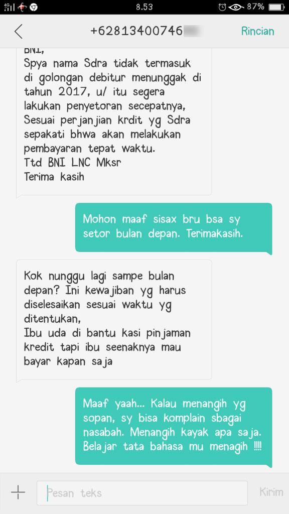 SMS dari pegawai BNI