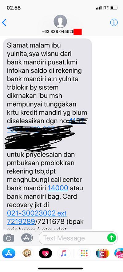 Bank Mandiri Memblokir Rekening Saya Terkait Tunggakan Hutang