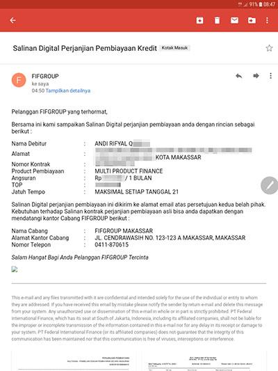 Fif Spektra Credit Mengirimkan Salinan Kontrak Ke Alamat E Mail Orang Lain Media Konsumen