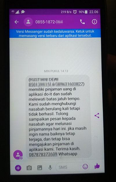 Penagih Mengirim SMS ke Kontak Pribadi Tanpa Izin - Media