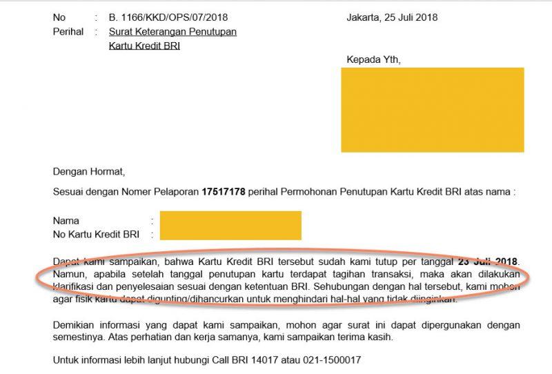 Mohon Klarifikasi Bri Terkait Penutupan Kartu Kredit Media