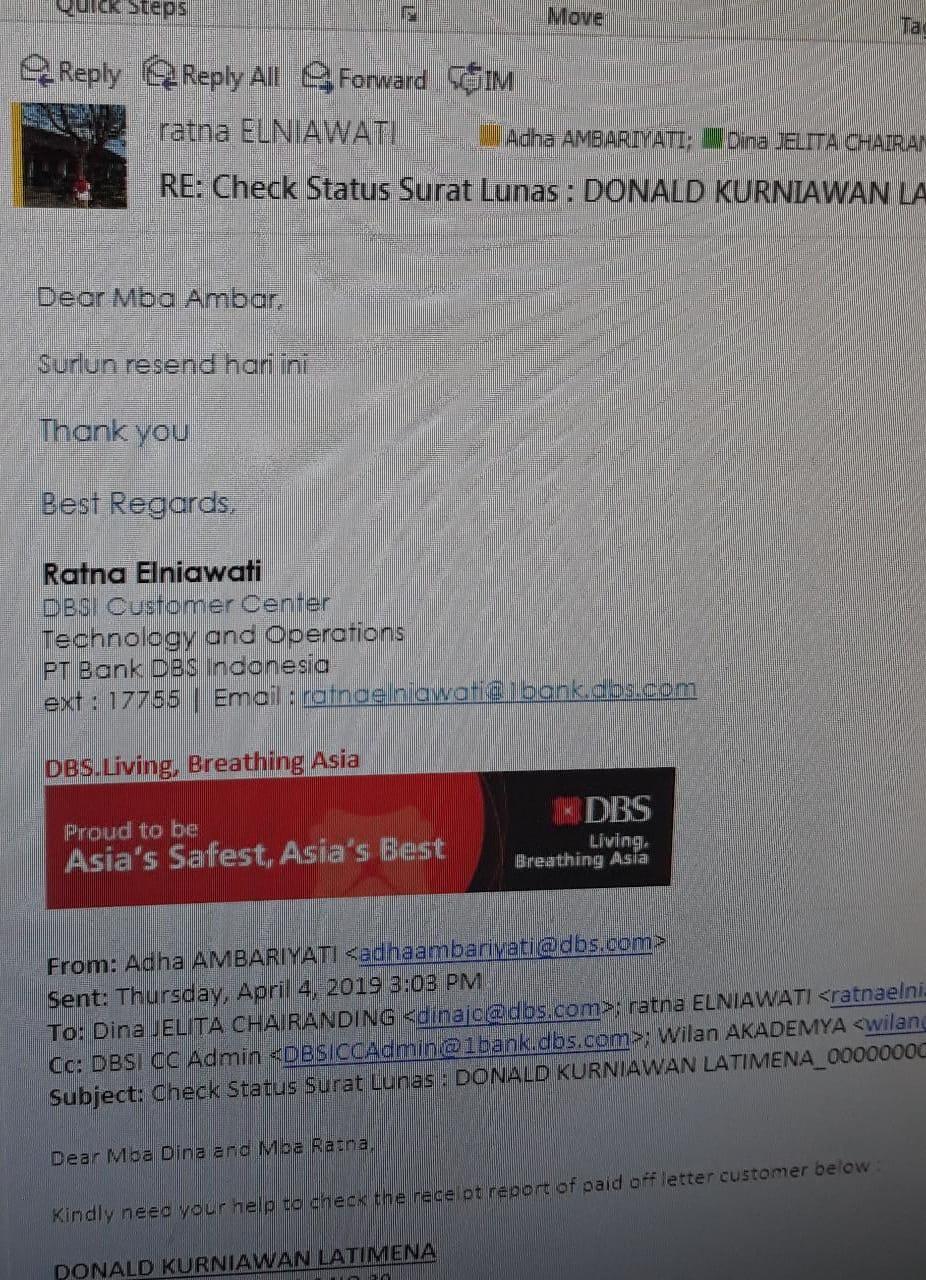 Menunggu Surat Keterangan Lunas Kta Bank Dbs Saya Media