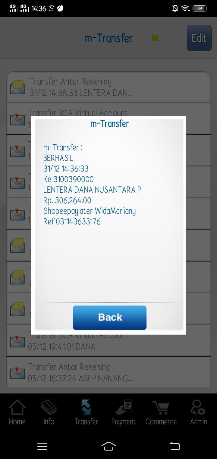 Bukti transfer pembayaran tagihan