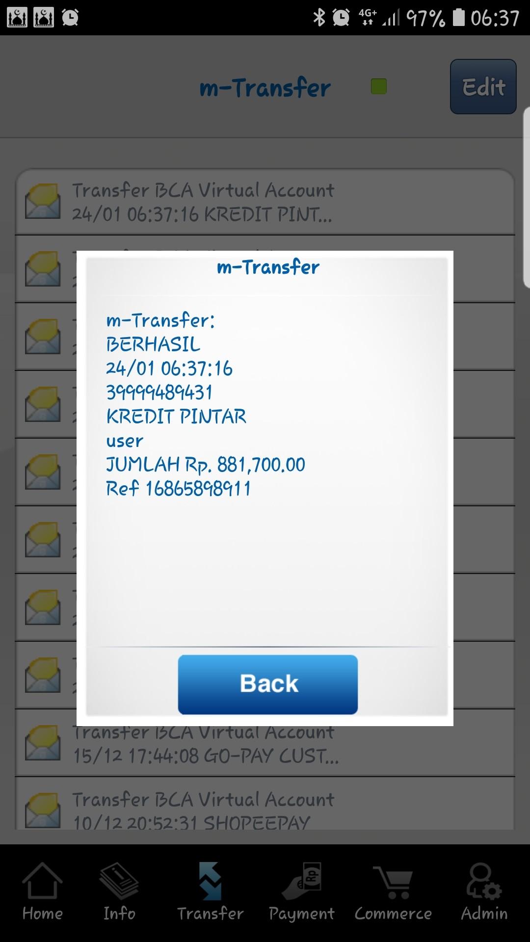 Pembayaran dari m-banking BCA
