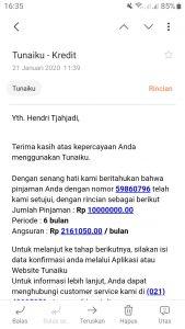 Pencairan Pinjaman Aplikasi Tunaiku (Bank Amar Indonesia ...