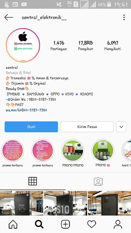 Penipuan Penjual Online Di Instagram Akun Ig Sentral Elektronik