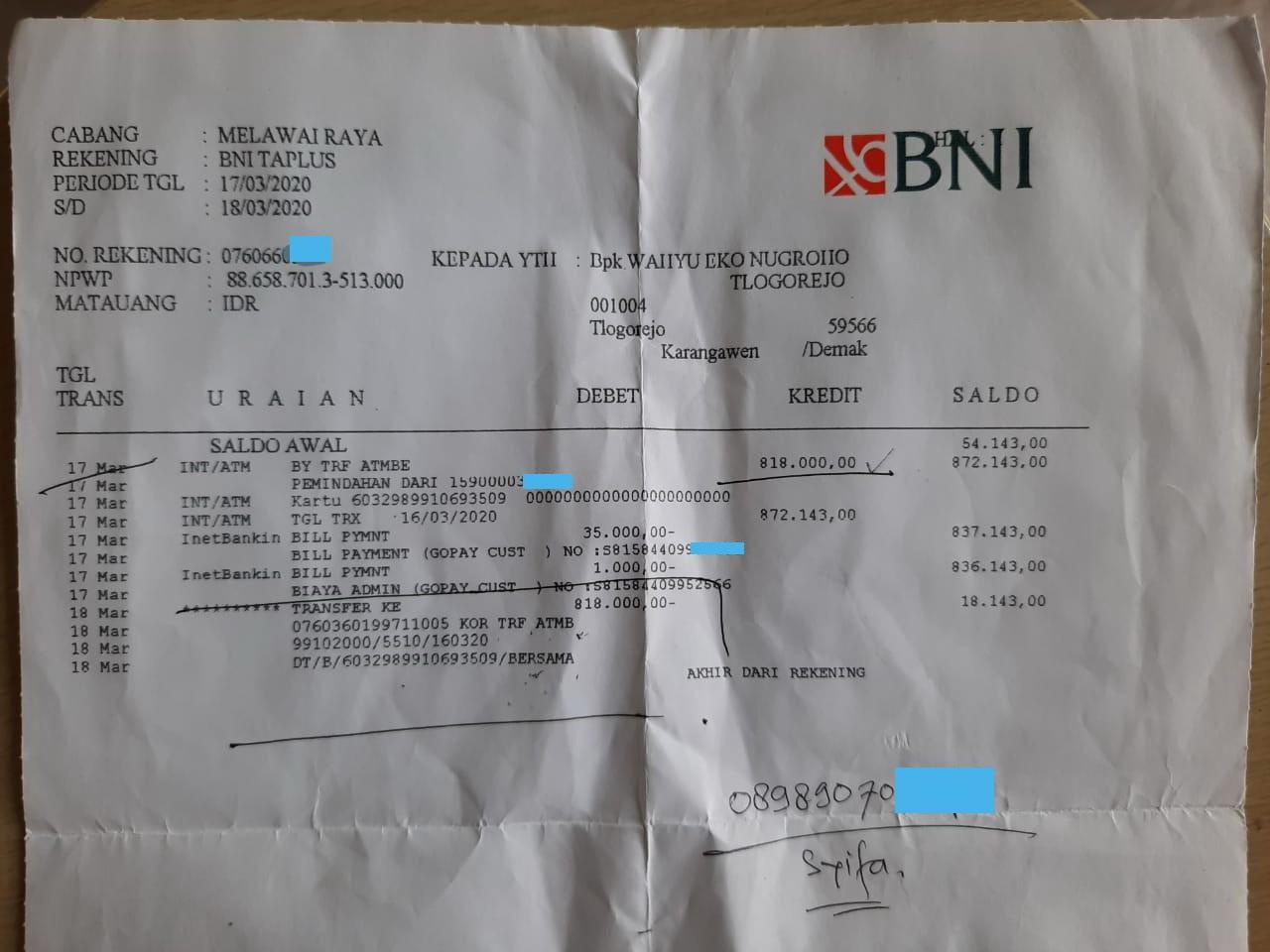 Kecewa Pelayanan Bank Bni Saldo Rekening Bni Saya Berkurang Dan Belum Kembali Media Konsumen