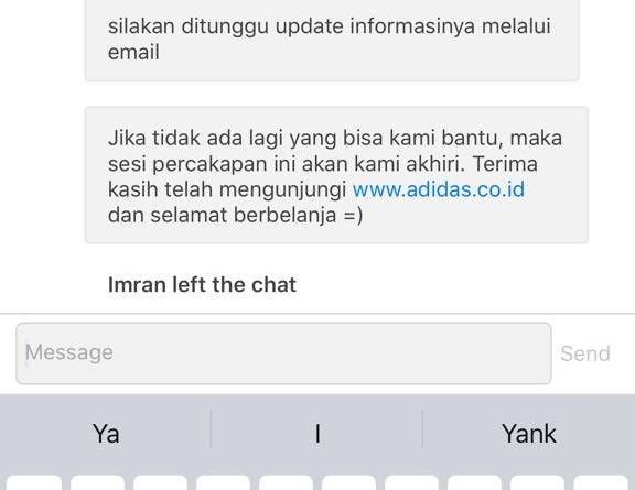 Live chat dengan Adidas Indonesia