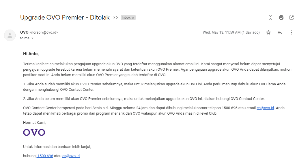 Penolakan upgrade akun OVO Premier