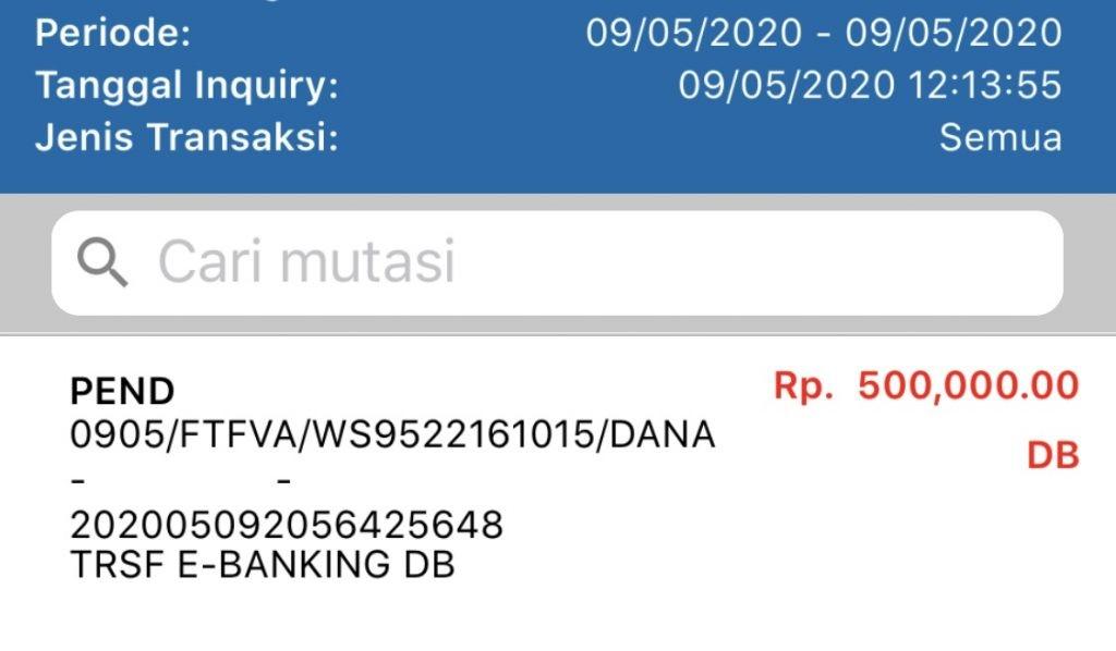 Mutasi debet dari rekening BCA saya