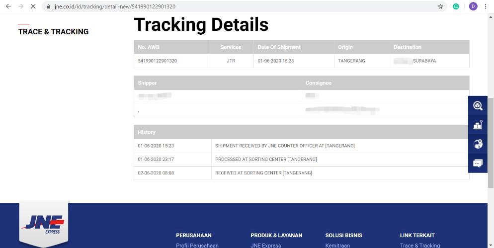 Status paket sejak tanggal 1 Juni hingga 14 Juni 2020