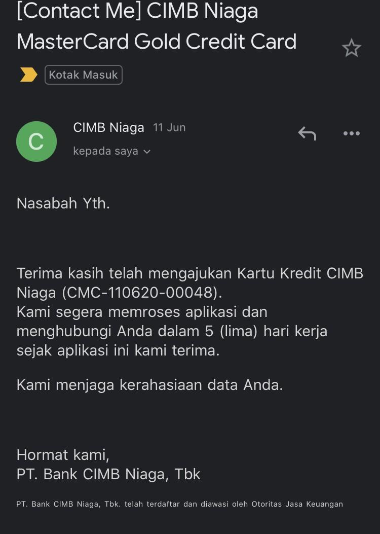 Bukti pengajuan Kartu Kredit di Bank CIMB Niaga