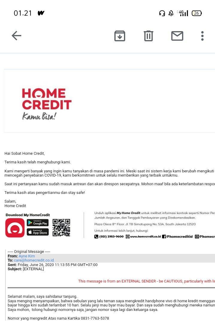 kredit hp di home credit kini macet