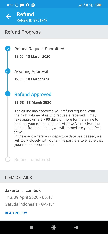 Proses refund tiket di Traveloka Yang Tertunda
