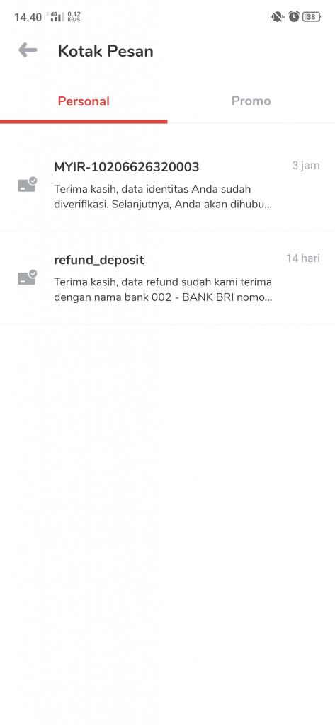 Reffund deposit telah saya dilakukan 14 hari yang lalu