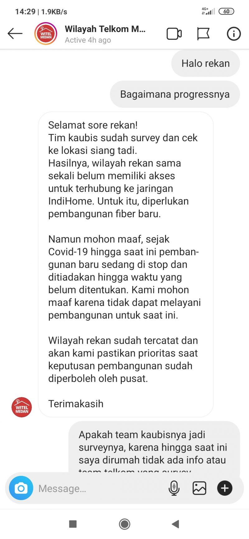 Chat dengan Witel Medan