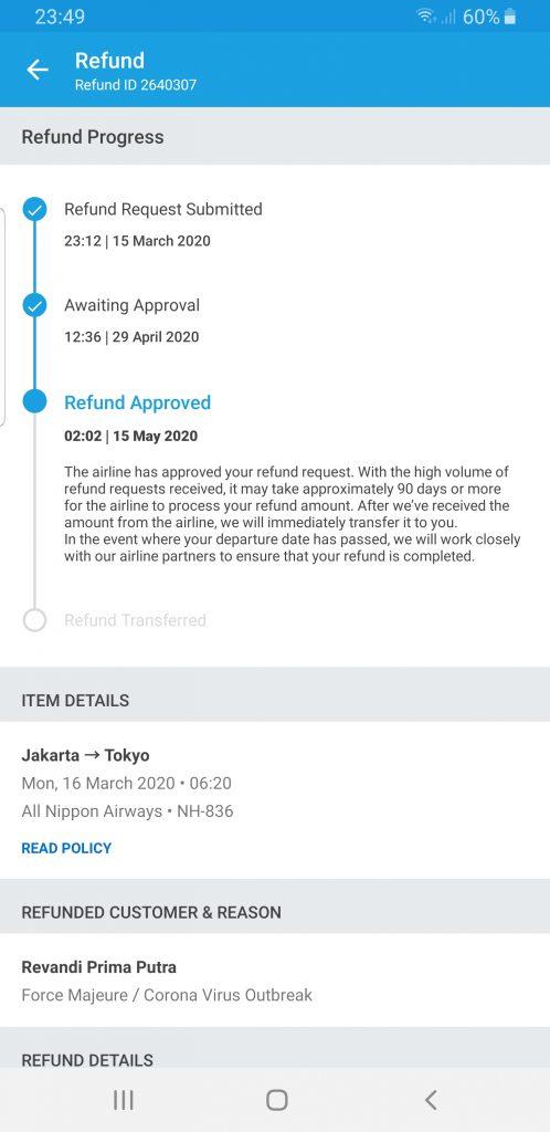 bukti refund id traveloka dan jawaban dari admin yang selalu sama