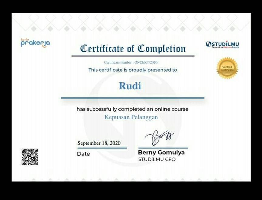 Foto sertifikat yang belum dikirimkan oleh tokopedi ke tim prakerja.