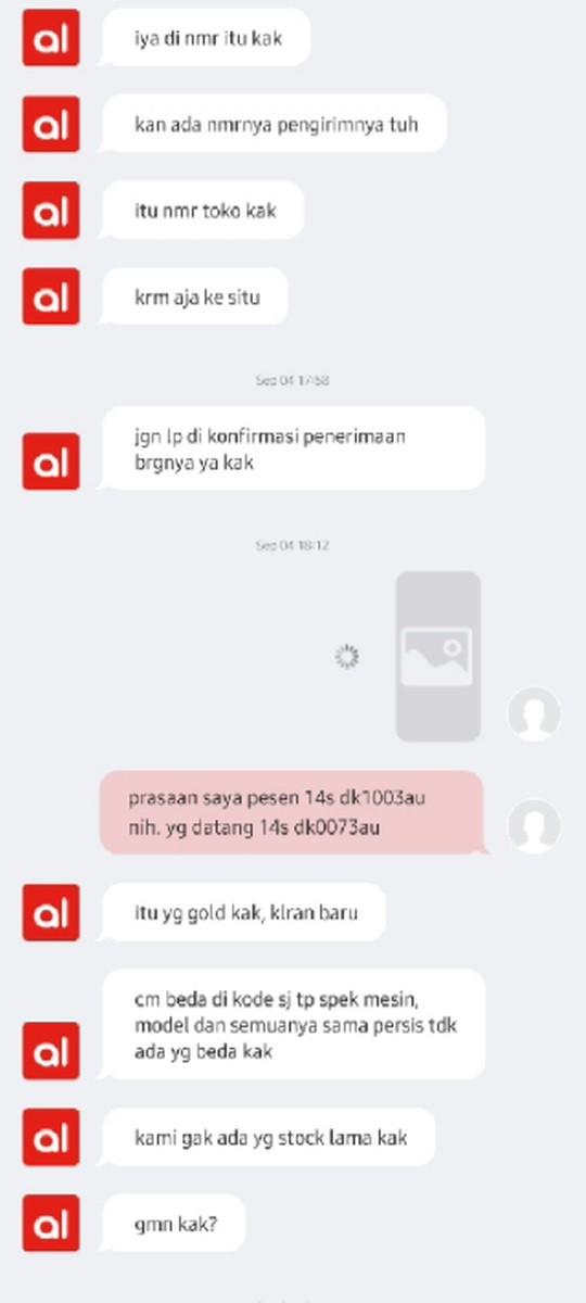 bukti chat dengan seller