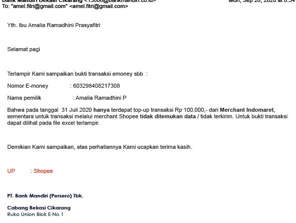 email dari bank mandiri bahwa tidak ada dana masuk dari shopee