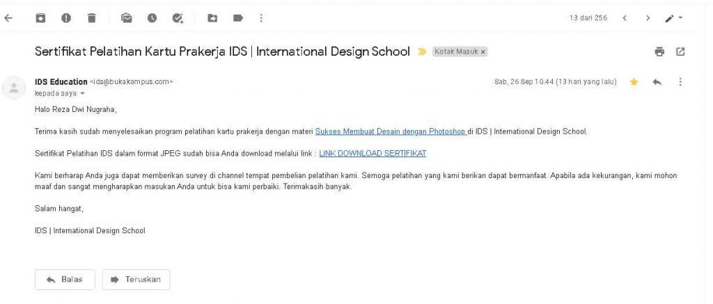 email sertifikat dari IDS