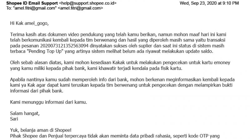 shopee menyuruh memeriksakan kartu ke bank mandiri