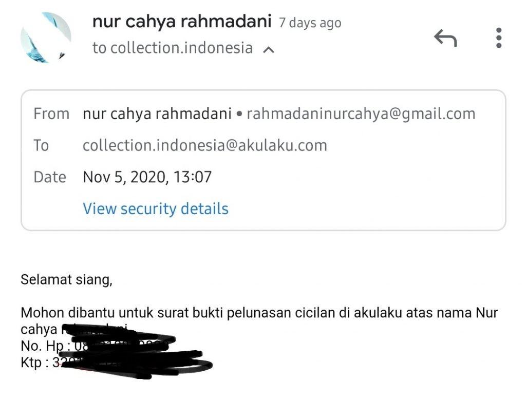 Email ke akulaku