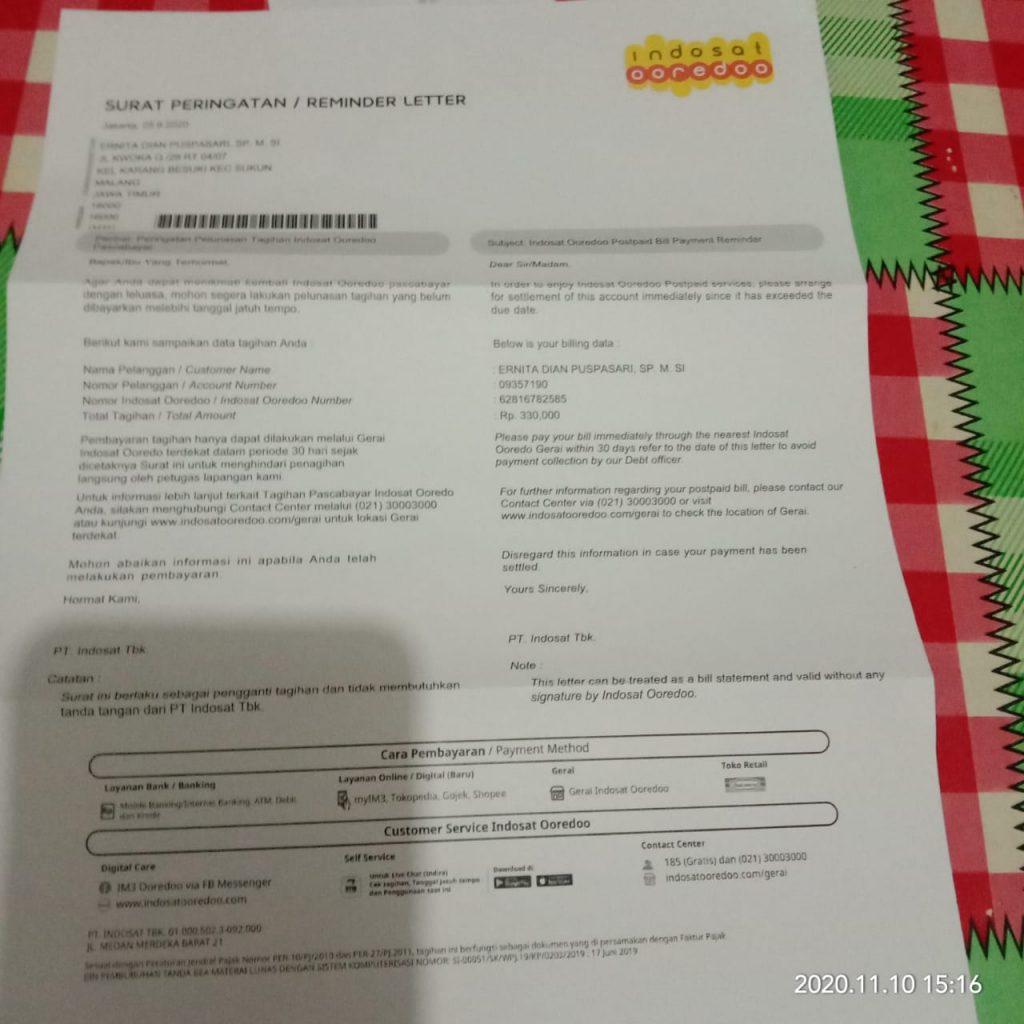 Tidak Merasa Menggunakan Pasca Bayar Indosat Tapi Dikirim Surat Peringatan Tagihan Media Konsumen