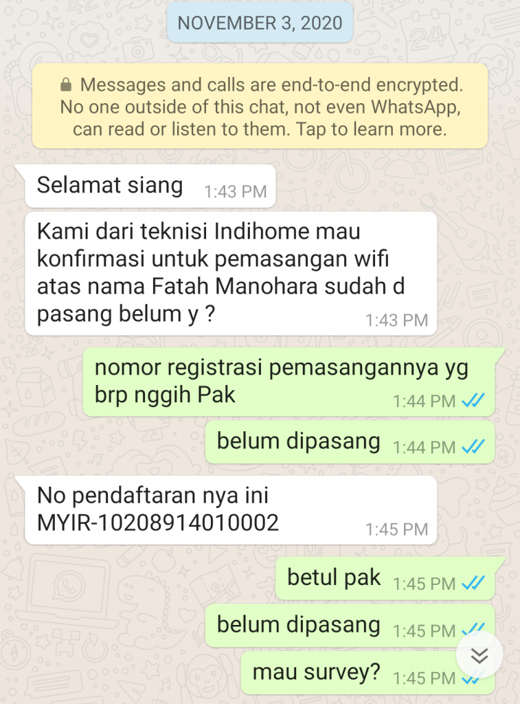 komunikasi dengan petugas survey