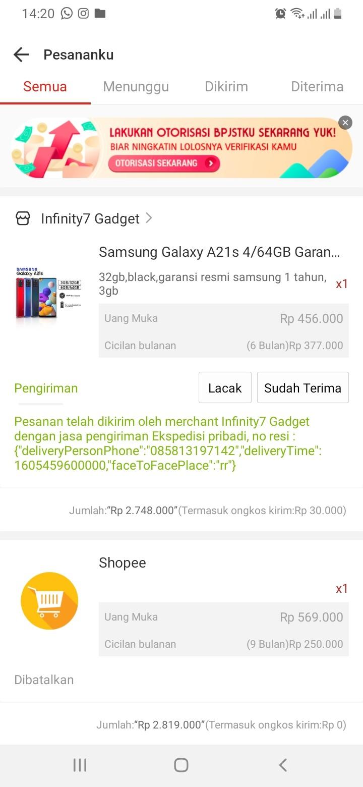 Pesanan Saya di Infinity7 Gadget