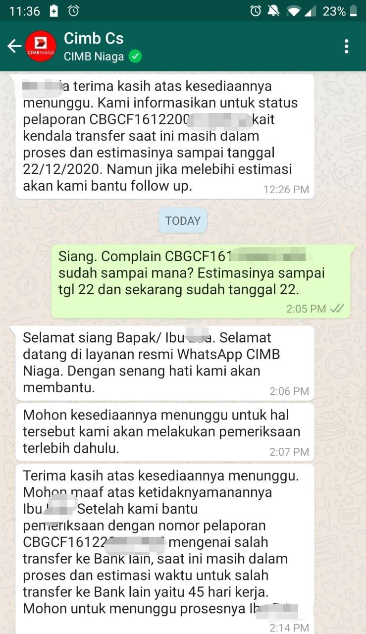 whatsapp hasil komunikasi dengan wa resmi CIMB Niaga