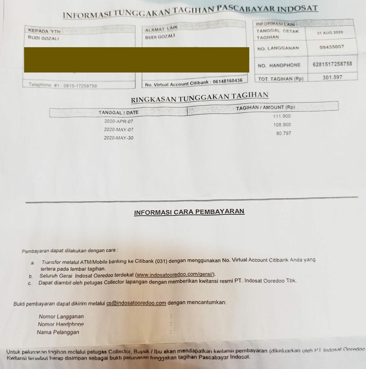 Surat Tagihan Indosat