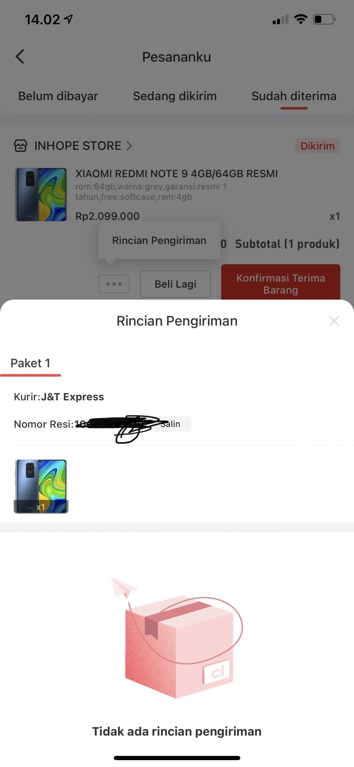 Status barang dikirim tapi dengan resi tidak valid seller di chat pun tidak di balas