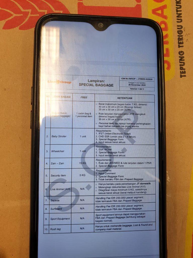 Informasi Biaya Hanya ada di SOP Internal Batik Air