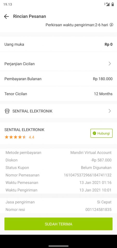 Rincian Pemesanan dari SENTRAL ELEKTRONIK