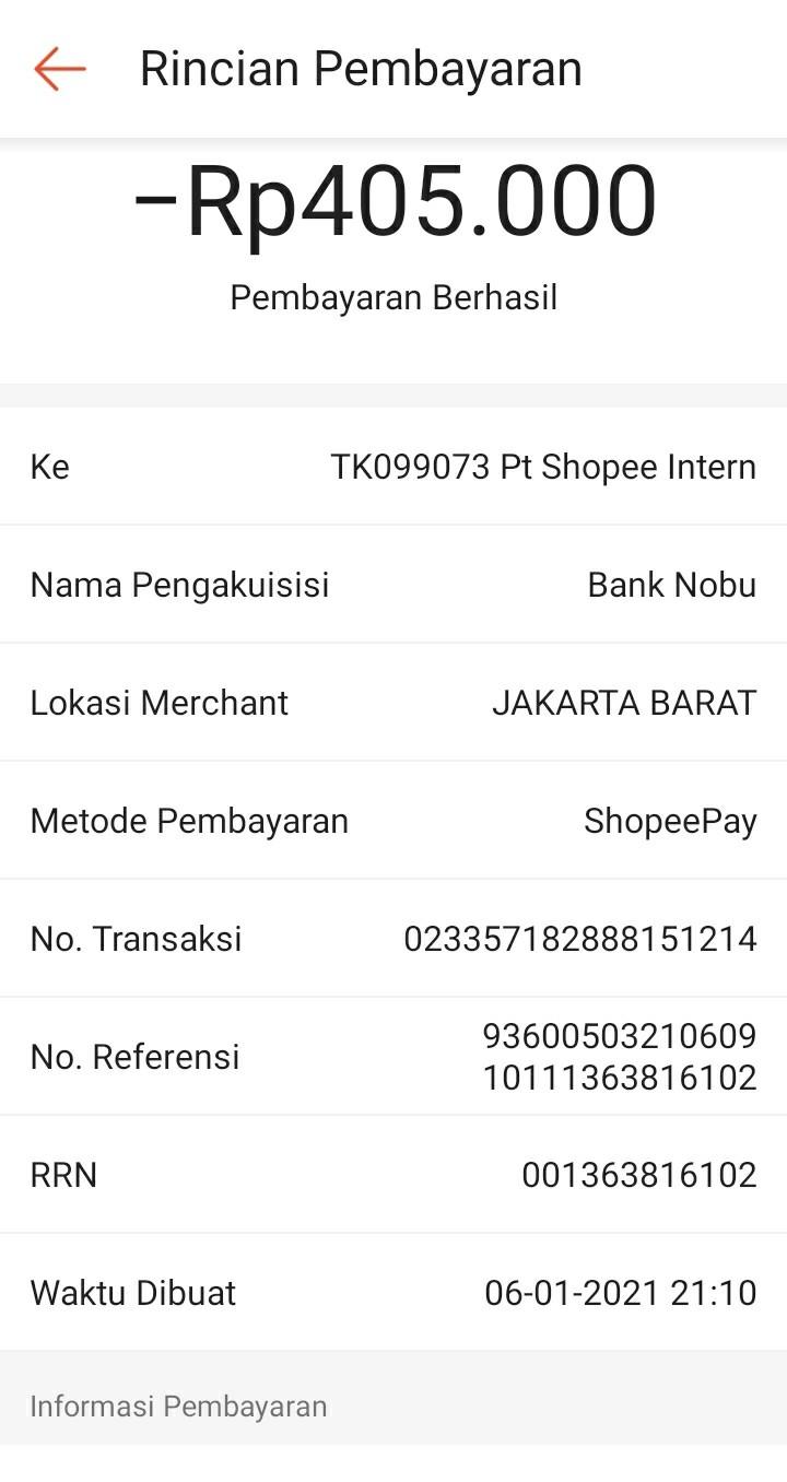 transaksi penipu dikirim ke pt shopee intern