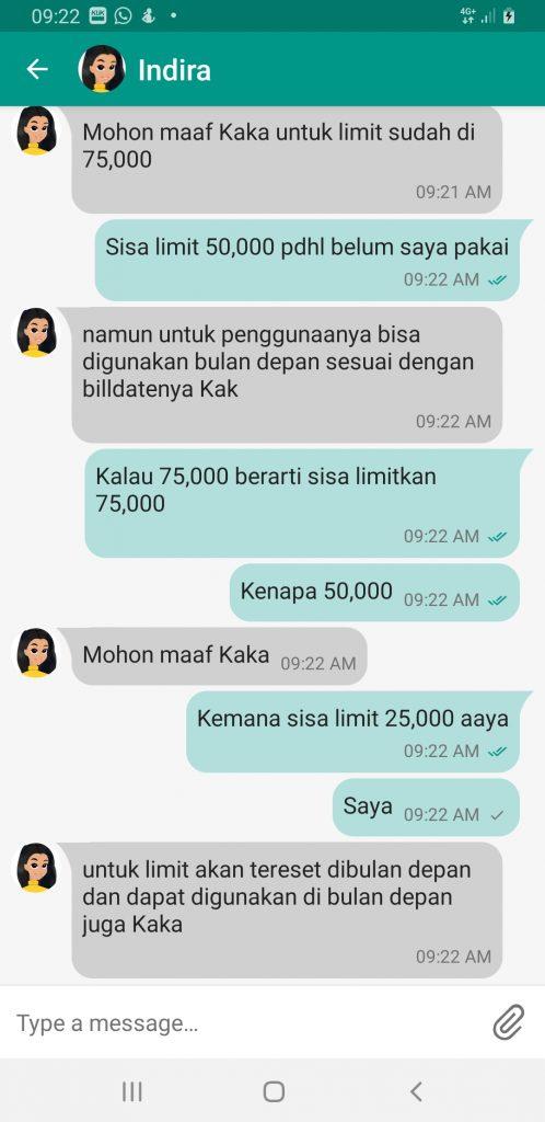 Chat ke Indira Indosat Apps Agent ke 3